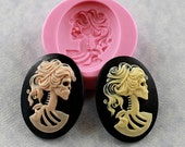 Lolita Day of the Dead Skull Cameo Mold Mould 40mm Resin Fondant Polymer Clay Chocolate (270)