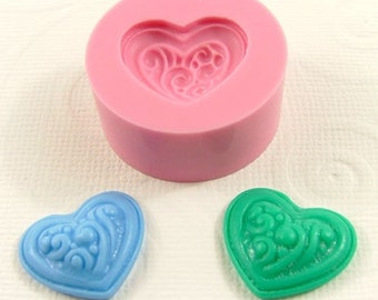 Puffy Heart with swirls Flexible Mini Mold/Mould (20mm) for Crafts, Jewelry, Scrapbooking (resin, paper,  pmc, polymer clay) (175)