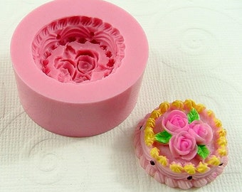 Rose Frosted Cake Flexible Mold/Mould (23mm) for Crafts, Jewelry, Scrapbooking, Miniature Food (wax, soap, resin, pmc, polymer clay) (164)