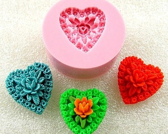 Filigree Rose Heart Cabochon Flexible Mini Mold/Mould (17mm) for Crafts, Jewelry, Scrapbooking (resin,   pmc,  polymer clay) (112)