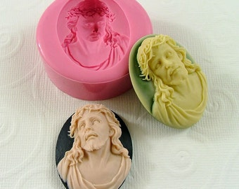 Jesus Cameo Cabochon Flexible Silicone Mold/Mould (40mm) for Crafts, Jewelry, Scrapbooking, (resin, pmc, polymer clay) (241)
