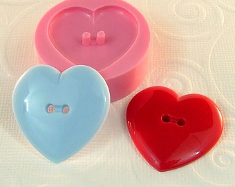 Heart Button Mold Flexible Silicone Mould Resin Mold Polymer Clay Mold Utee PMC DIY Button (267)