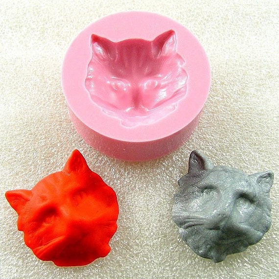Cat Face Flexible  Mold/Mould (25mm) for Crafts, Jewelry, Scrapbooking (resin,  pmc,  polymer clay, Sculpey III, Fimo and Premo Clay) (114)