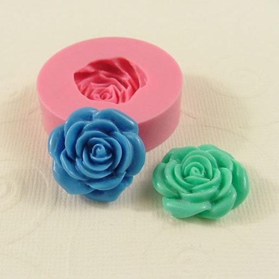 Rose Flower Mold Cabochon Mould (21mm) for fondant chocolate resin pmc polymer clay mold (212)