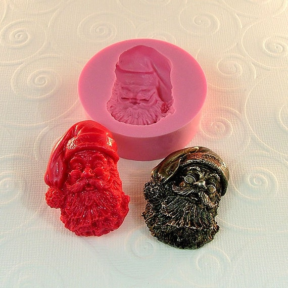SANTA Mold Flexible Silicone Mould Resin Polymer Clay UTee PMC Soap Mold  Pendant (180)