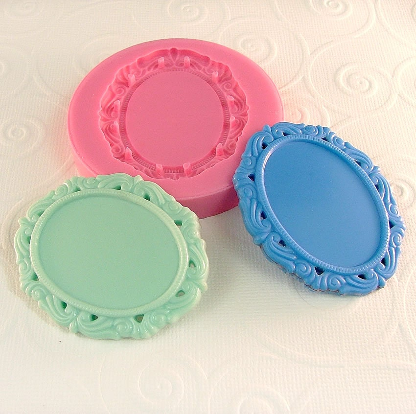 Ornate Cabochon Frame Setting Flexible Silicone Mold Mould For