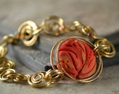 Fire in the Hole - Brass Wirework and Sculpted Polymer Focal Bracelet