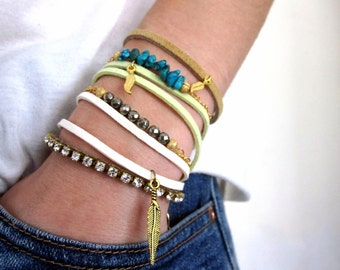 Double Wrap Stacking Bracelet with Charm  - customized, made to order