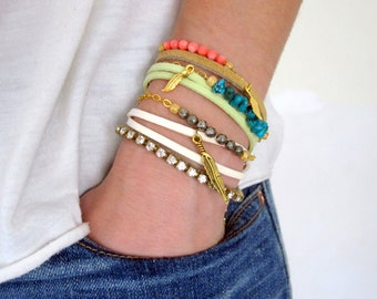 Gold Filled Colorful Stackable Wish Bracelet - Pyrite, Turquoise, or Coral