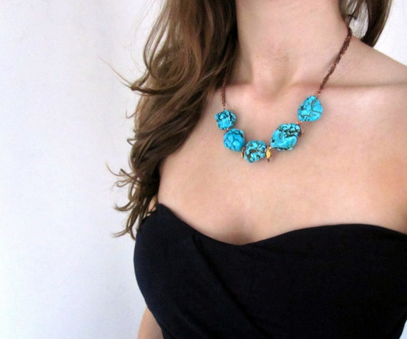 SALE Chunky Turquoise Mixed Chain Necklace