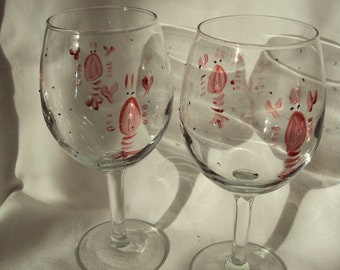 Lobster wine glasses set of two