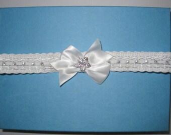 White Rhinestone Garter. White Satin Bow Garter. Rhinestone Flower Garter. Bridal Garter. Wedding Garter - Ready To Ship