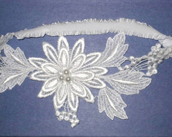 SALE- White Floral Venise Lace Applique with Pearls Bridal Garter - Ready To Ship