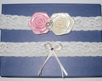 Ivory Lace Garter with a Pink and Cream Satin Flower with Pearl and Rhinestones and Bow with Rhinestones. Garter Set of Two - Ready To Ship