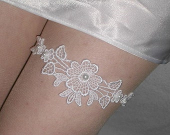 SALE - White Floral Venise Lace Applique with White Pearls Bridal Garter - Ready To Ship