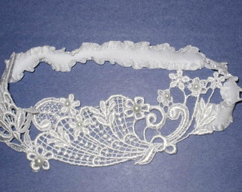 SALE - White Venise Lace Floral Garter with White Pearls, Bridal Garter - Ready To Ship
