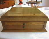 Vintage Wood Jewelry Chest Oak Dresser Box 2 Drawers