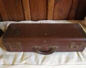 Vintage Leather Suitcase Musical Instrument Case Velvet Lined Brass Tag