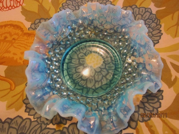 Vintage Blue Opalescent Hobnail Ruffled Bowl Irridescent