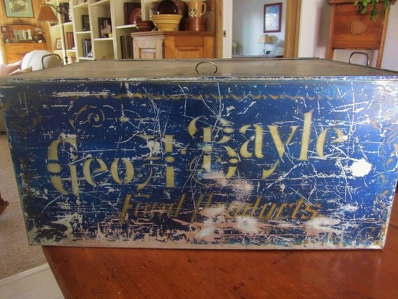 Primitive Antique Tin Box Stenciled Geo F Bayle Food Products ON SALE