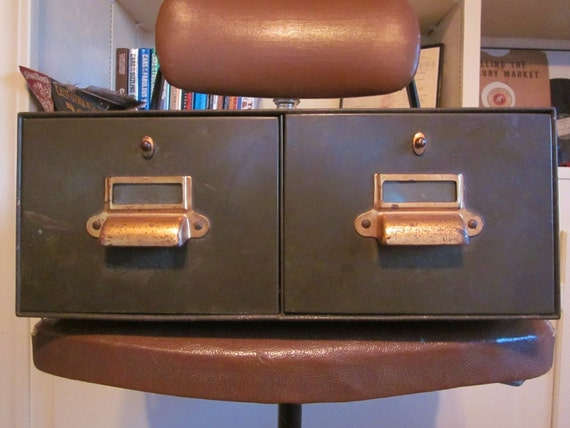 Vintage Industrial Metal Card File 2 Drawer Library or Office Cabinet