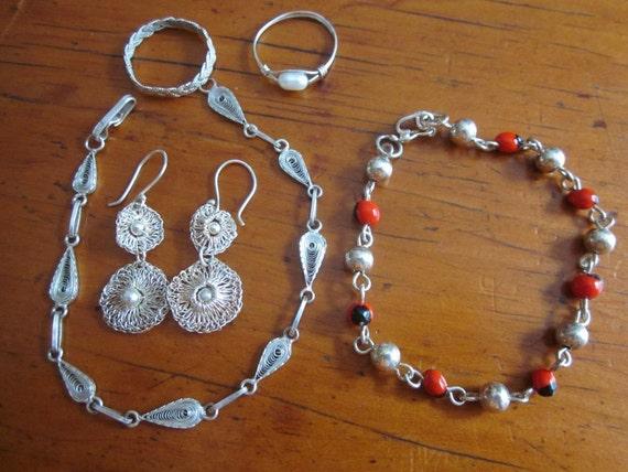Beautiful Group of Sterling Silver Jewelry 2 Bracelets, Earrings, 2 Rings 5 pcs.