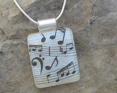 Music Pendant Necklace Dichroic Fused Glass Jewelry