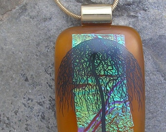 Umbrella Tree Necklace Dichroic Fused Glass Tree Pendant