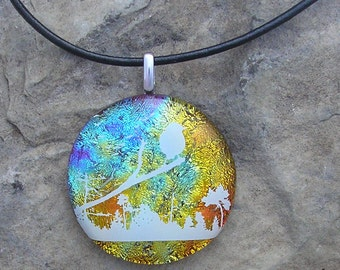 Bird Necklace Dichroic Fused Glass Pendant Bird Jewelry