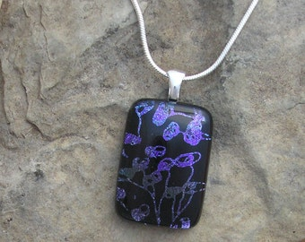 Purple Necklace Hand Etched Dichroic Glass Purple Pendant