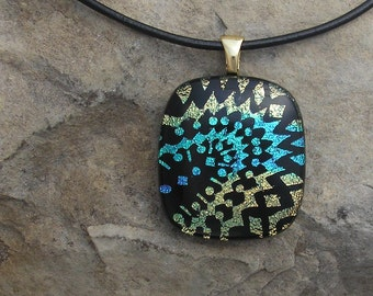 Hand Etched Dichroic Glass Pendant Dichroic Jewelry