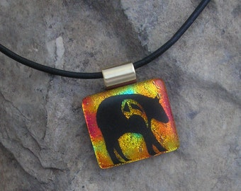 Black Bear Necklace Dichroic Fused Glass Jewelry Bear Pendant