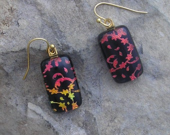 Hand Etched Dichroic Earrings Fused Dichroic Glass Red Earrings