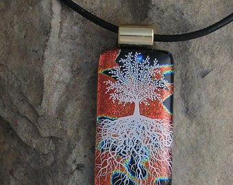 Red and Black Tree of Life Necklace Dichroic Glass Tree Pendant