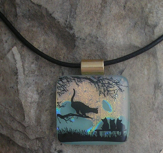 Cat Pendant Fused Dichroic Glass Necklace