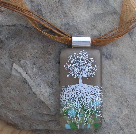 Tree of Life Necklace Fused Glass Pendant