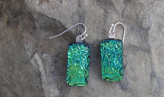 Emerald Green Earrings Crinkle Dichroic Fused Glass Jewelry