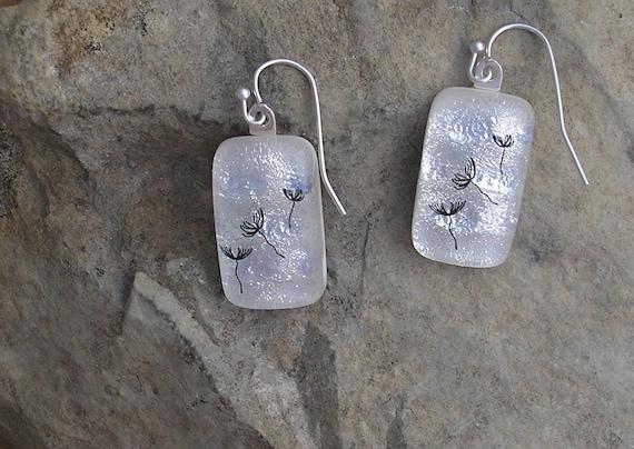 Dandelion Earrings  Dichroic Glass Earrings  Wish Jewelry