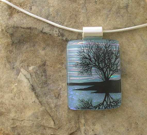 Reflection Tree Pendant Fused Dichroic Glass Necklace Jewelry