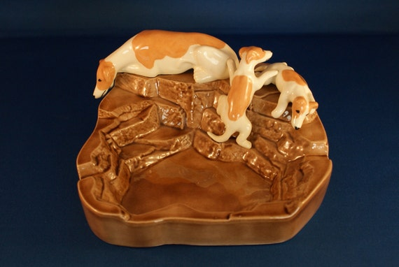 Ceramic Whippet Mother and Puppies Dish Sculpture