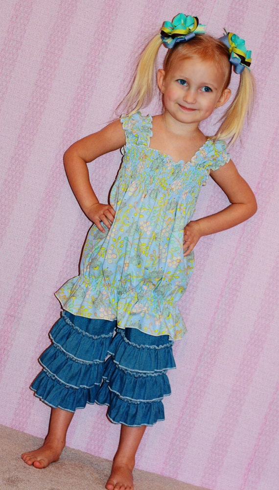 Blue bubble cap sleeve top READY to ship sizes 2t SALE