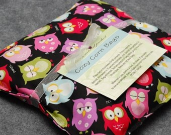 Heating Pad, Corn Bag, Microwavable Heat Pack, Hot Cold Therapy Pillow, Muscle Aches, Spa Gift, Child Snuggler -- Small 9x9 -- Sleepy Owls