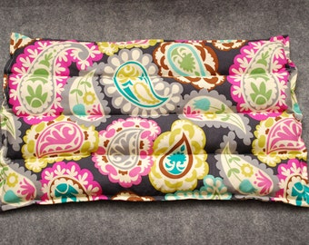 Microwave Heat Pack, Corn Heating Pad Set, Cold Pack, Corn Bag Microwavable, Gift for Her -- Lumbar 10x16  -- Paisley Party