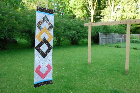 Modern Quilted Table Runner, Centerpiece- Diamonds Over Diamonds