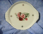 Vintage Baum Brothers Formalities Small China Tray With Pink and Red Roses, Maria Pattern