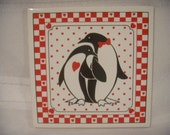 Vintage Ceramic Tile, Red White and Black, with Two Penguins