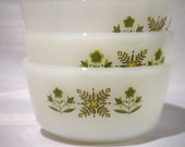 Vintage Anchor Hocking Fire King Milkglass Custard Cups Meadow Green 1960s
