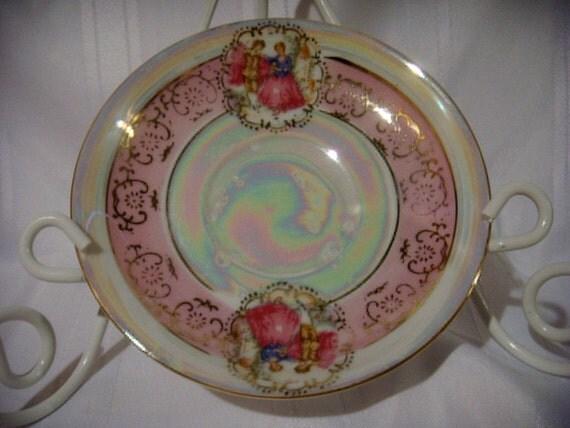 Reserved..... Vintage Arnart Pearlescent Porcelain Saucer With Courting Couple, Gilt Trimmed