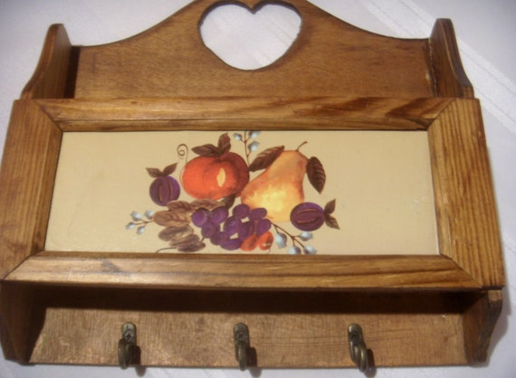 Wooden Mail and Key Holder with Fruit and Flowers Print