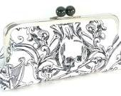Skull Black and White Clutch Handbag - White